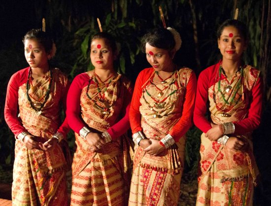 Mancotta Heritage Chang Bungalow: Assamese dancing troupe outside bungalow