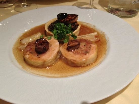 Le Tournesol: Guinea Fowl Dinode accompanied with chestnuts, lentils and fried foie gras