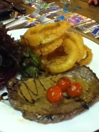 The White Swan: Steak and special order onion rings