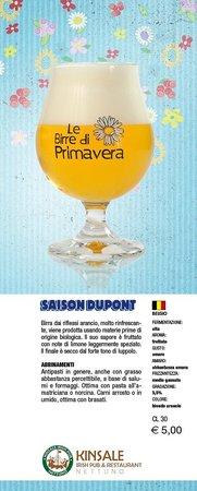 Kinsale Irish Pub: Saison Dupont Biologique  - Birra di Primavera 2013