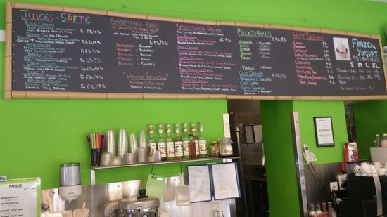 Menu board picture of blueberrys juice bar interlaken for Whole food juice bar menu