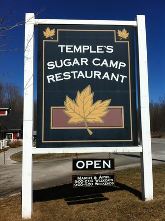Temple's Sugar Camp: Sign out front
