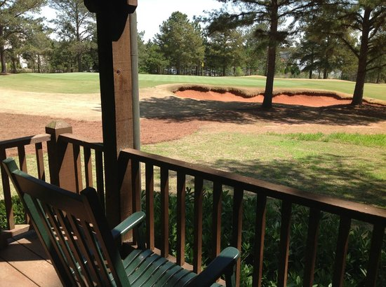 Cuscowilla on Lake Oconee : Back Porch of Talking Stick Golf Cottage (#9 green in distance)