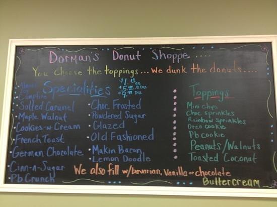 Dorman's Donut Shoppe: donut selections
