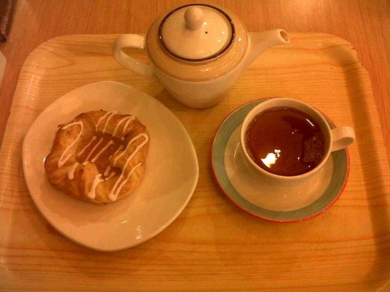 Dobbies: Danish Pastry and pot of tea.