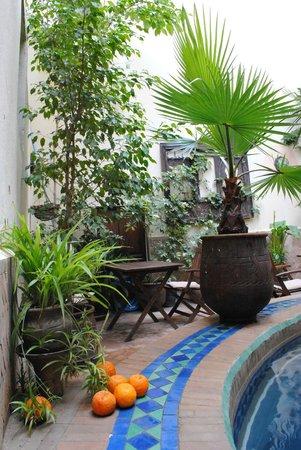 Riad La Cle de Fes : terrasse de piscine