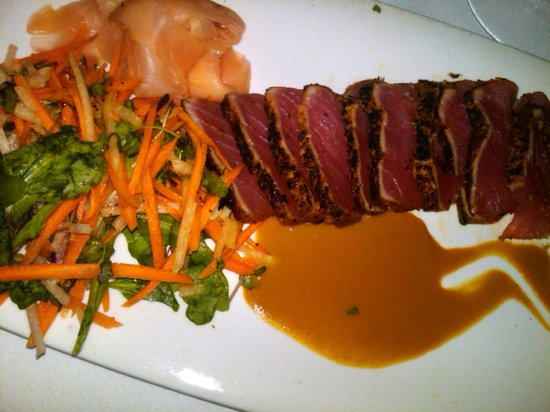 Fleming's Prime Steakhouse & Wine Bar: My Ahi small plate followed the tomato basil & shrimp soup