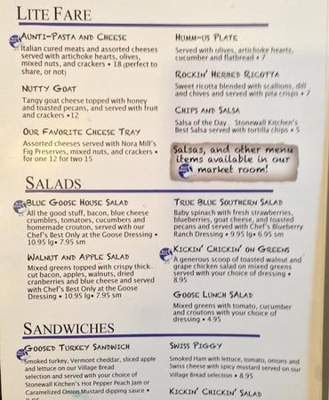 The Blue Goose: menu 1