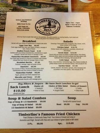 Timberline Deli of Ouray: menu 1