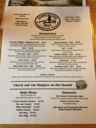 Timberline Deli of Ouray: menu 2