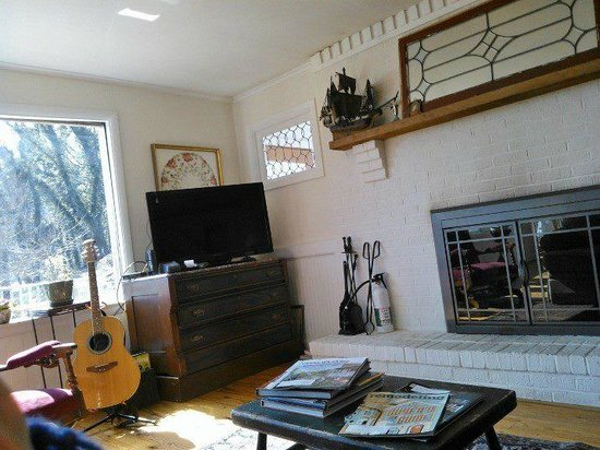 The Ledge House Bed and Breakfast: Fireplace and TV in common area