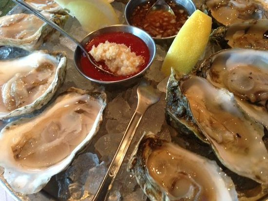 Legal Sea Foods : Oyster sampling close up