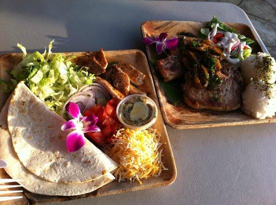 Chicken Taco and Pork chop