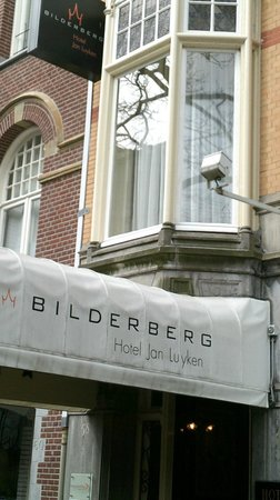 Bilderberg Hotel Jan Luyken: view from street, our room had the bay window  with stained glass over the main entrance