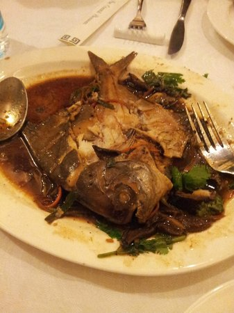The Oriental Blossom: Full pomfret steamed fish