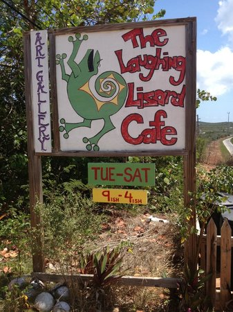 Laughing Lizard Cafe: Sign out front