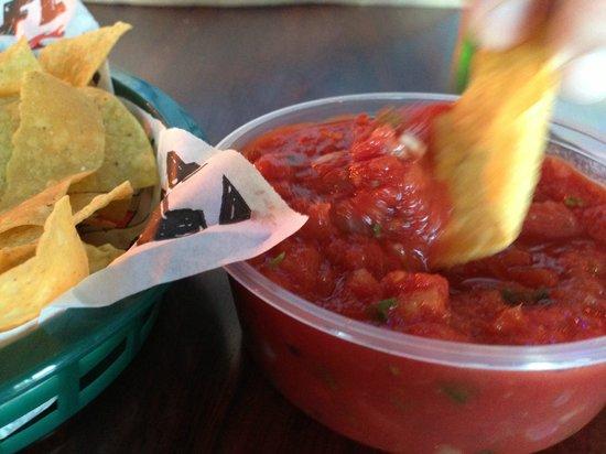 Tijuana Flats: tortilla chips & salsa (looks thick & ketchup-like, but is not)