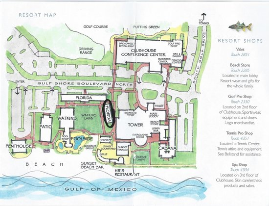 The Naples Beach Hotel Golf Club Map Of