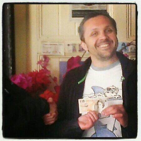 Edins Deli Cafe: Edin , a happy man ,,after winning a 10 pound bet