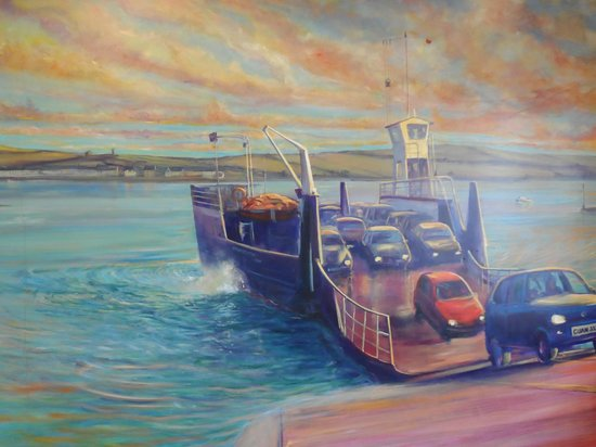 The Cuan: Painting of the Strangford ferry in Cuan's fish & chip shop
