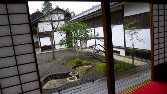 Hikone Castle Museum: recreated room opening to a garden