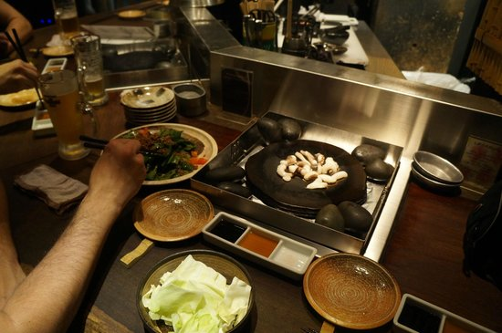 chicken and bacon - Picture of Ishiyaki Isshan Pontocho, Kyoto ...