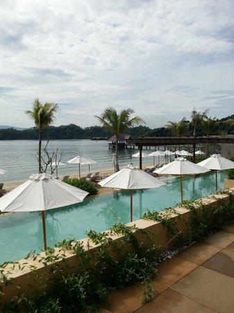 Gaya Island Resort: View of pool and beach from gardens