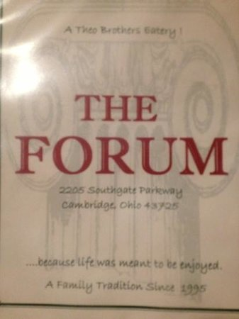 The Forum : front of menu