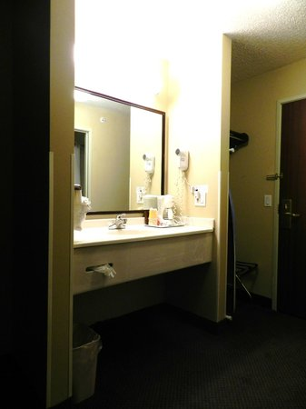 Luxury Inn & Suites: Vanity in the room