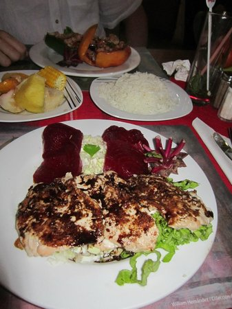 Juana la Cubana : my fish dinner with the beets arranged in a canadian flag.