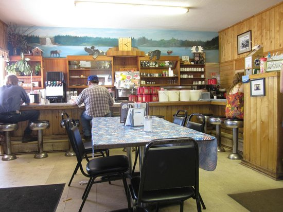 Art's Cafe: counter & stools & handpainted mural