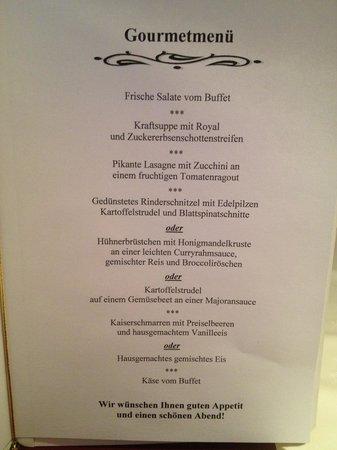 Ferienhotel Fernblick: Menükarte fürs Abendessen
