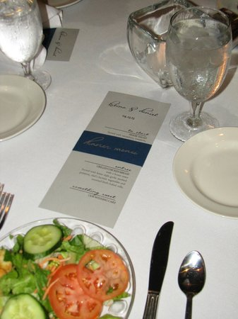 Hyatt Regency Hill Country Resort and Spa: Dinner menus, made by god-mom of bride, set out by waitstaff