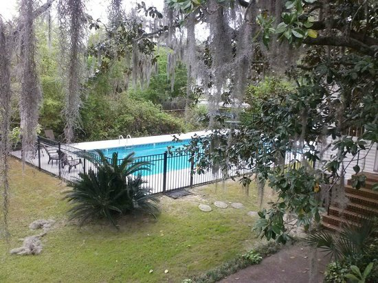 Open Gates B&B: In ground pool (view from Carriage house)