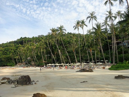 "Four Seasons Resort Koh Samui Thailand: The ""Quiet Beach"", beyond the canoes."