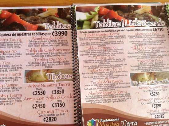 Menu - Precios Doble en el menu en Ingles. - Picture of