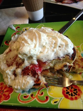 Seaside Cafe & Bakery: To Dream For Pineapple Upside Down Pancakes w/ brown sugar, butter & whipped cream. No syrup nee