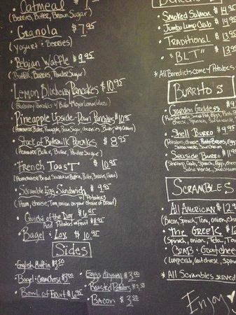 chalk board menu