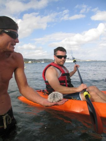 Sea Thru Kayaks VI: Bryce showing my husband the cool sea urchin!