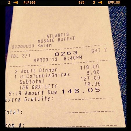 The Reef Atlantis, Autograph Collection: Our Ridiculous Buffet Dinner Bill