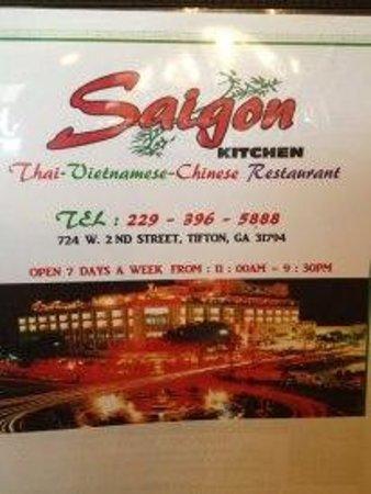 Front of Menu - Picture of Saigon Kitchen, Tifton - TripAdvisor