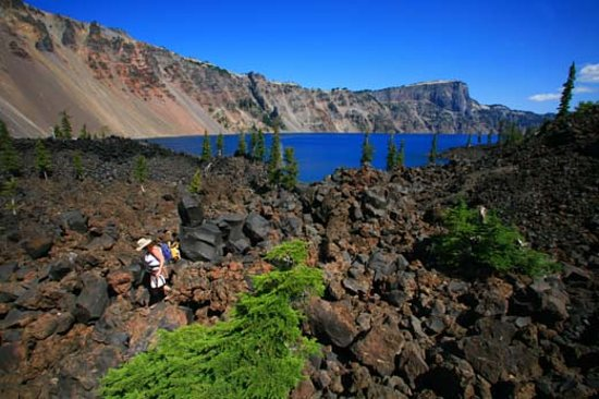 An August hiker on Wizard Island at Crater Lake National Park