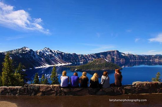 Family at the top of the rim of Crater Lake National Park