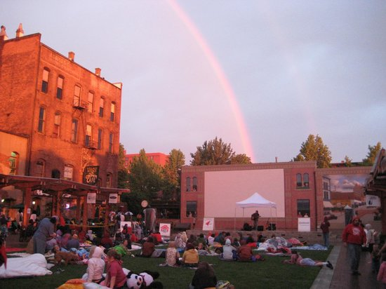 Fairhaven Historic District: Outdoor movie on Fairhaven Village Green