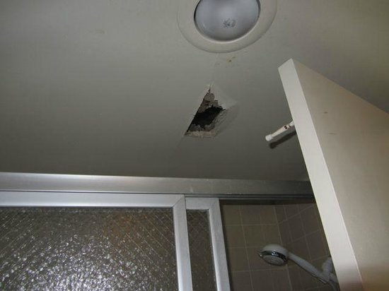 International Hotel & Suites : Leak in roof from room above.