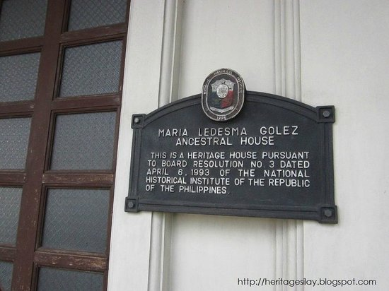 Silay City, Philippinen: The Heritage house marker