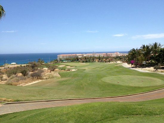 Cabo Real Golf Course: 3rd tee with Hilton Resort in background