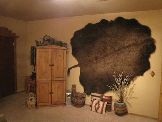 Dancing Deer Lodge: Entertainment Center and Bison Hide