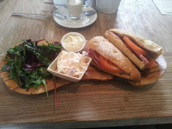 Charlie's Boathouse: Ham Baguette with homemade coleslaw, mayonnaise & salad