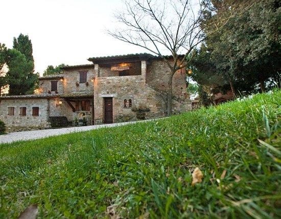 Colle Fiorito: esterno ristorante dove nel caminetto antico si cucinano conigli/polli etc.squisiti